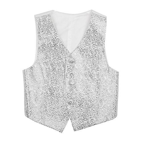 FEESHOW Kids Boys Formal Tuxedo Dress Vest Wedding Waistcoat Gentleman Suit Floral Pattern Silver 12-14