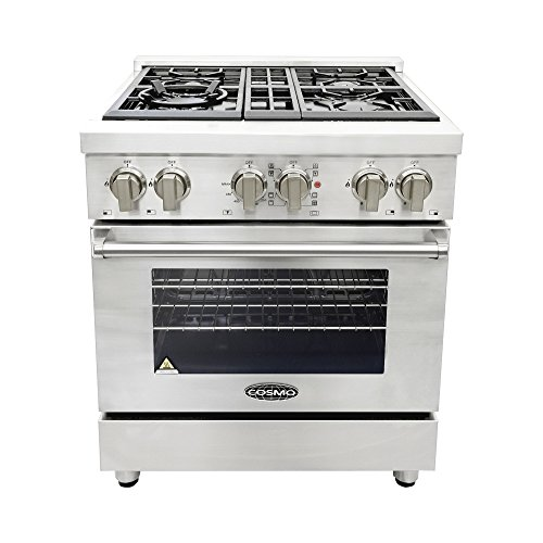 Cosmo COS-DFR304 Freestanding Professional Style Dual Fuel Range with Electric Convection Oven