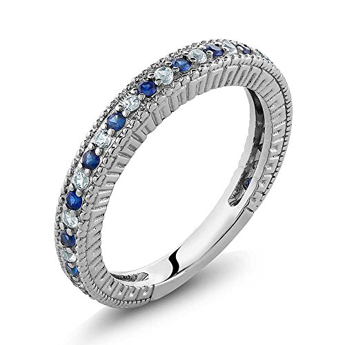 Gem Stone King Sterling Silver Ladies Anniversary Wedding Band Ring Blue and White Created Sapphire 0.48 Carat (Size 8)