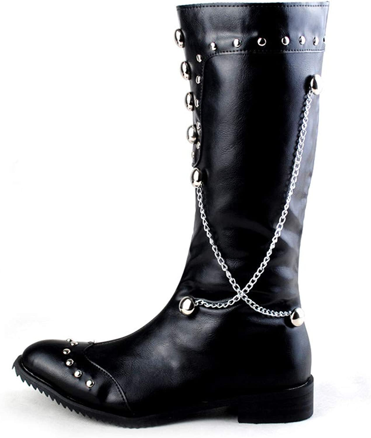 Jiahe Motorcycle Leather shoes for Men Zipper-up Chukka Boots Western Cowboy Boots with Fashion Hanging Chain Rivets,39