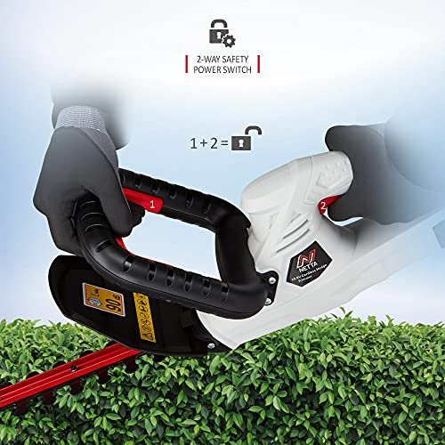 NETTA Cordless Hedge Trimmer and Cutter 10.8V - 350mm Diamond Cutting Blade - 14mm Tooth Opening - Lithium-Ion Battery - Charger Included - Lightweight 2.4kg