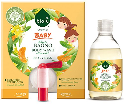 biolù Baby Bain Bio Nettoyant délicat pour enfants à la fiche 300 ml avec flacon délicat