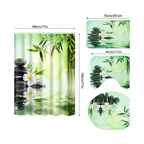 Ramells 4 stuks groen douchegordijn met haken wc-deksel badmat antislip tapijt waterdicht bad kamer producten