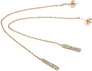 FC JORY Rose Gold Plated Crystal Thread Threader Stick Bar Drop Dangle Long Chain Earring