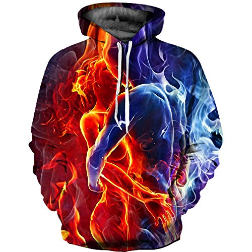 Twen 520 Ice And Fire Lovers 3d Digital Print Hooded Sweater Jacket Baseball Uniform Couple Hoodie L