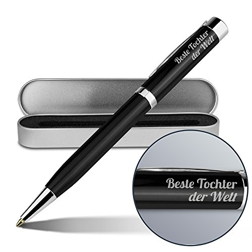 Kugelschreiber mit Namen Beste Tochter der Welt - Gravierter Metall-Kugelschreiber von Ritter inkl. Metall-Geschenkdose