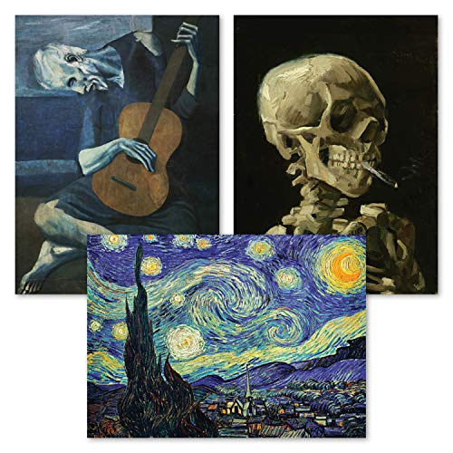3 Pack: Vincent Van Gogh Skeleton + Starry Night + The Old Guitarist by Pablo Picasso Poster Set - Set of 3 Fine Art Prints (LAMINATED, 18' x 24')