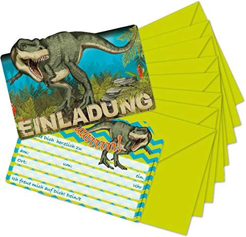 Mauder Verlag 16-teiliges Set: 8 Einladungskarten mit 8 Umschläge * Dinosaurier & T-REX * für Kindergeburtstag vom Lutz 26023 // Kinder Geburtstag Einladung Karten Dino