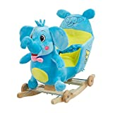 Livebest Child Plush Rocking Horse Wooden Chair Rockers with Wheels,Seat Belt Kid Rocking Horse Chair/Outdoor...