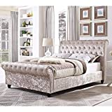 Spring Well <span class='highlight'>Bed</span>s Luxries Upholstered Designer Diamante Sliegh <span class='highlight'>Bed</span> Frame in Crushed Velvet <span class='highlight'>Single</span>/Double/King Size (4ft6 Double, Champagne)