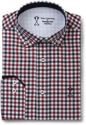 Camisa Manga Larga Semi-Entallada, con Cuadros de Color Rojo ...