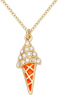 Trendy Ice Cream Luminous Orange Enamel Cone Pendant Necklace Jewelry
