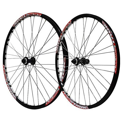 ZNND Rueda de bicicleta de 27,5 pulgadas freno de disco de liberación rápida bicicleta centro de bloqueo cubo de alta resistencia doble pared MTB llanta para 7,8,9 velocidades (color rojo)