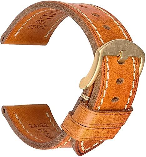 DLCYMY Correa de reloj hecha a mano de piel auténtica, 18 mm, 19 mm, 20 mm, 21 mm, 22 mm, 23 mm, 24 mm, 26 mm, hebilla de despliegue de acero inoxidable con botones