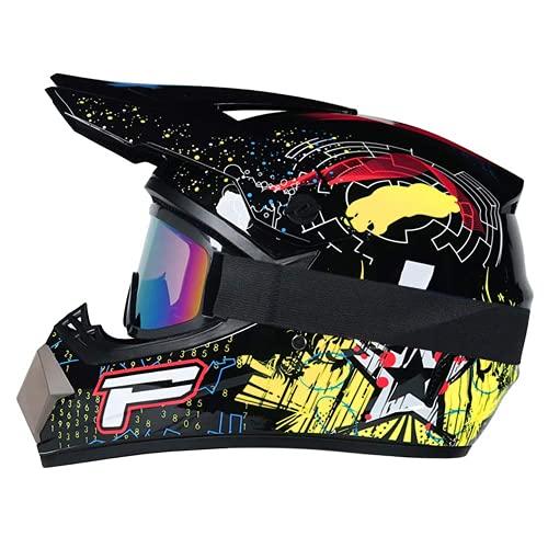 WAHA Casco Motocross Child, Casco Motocross Casco Professionale Casco da Mountain Bike Moto Caschi in Moto Set con Occhiali/Maschera/Guanti, per Casco MTB Enduro MX Quad Drop ATV,S