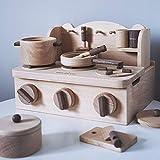 LiangDa Küche Spielzeug Retro-Holz-Küche Mit Zubehör Spielzeug Kinder Klassische Kinderspiele Holzfarbe Kochen Kinderküche Sets (Color : Wood Color, Size : 24x20x30cm)
