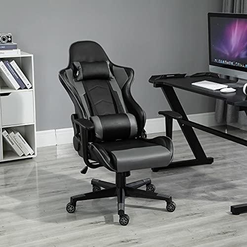 Sedie da Ufficio Sedia da Corsa Ergonomica Girevole A 360 ° con Cuscino E Altezza Lombare Regolabile Nero Comodo E Morbido
