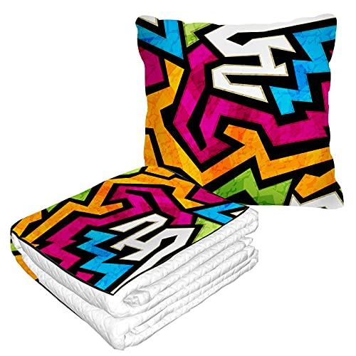 Manta de viaje con patrón de graffiti de color en bolsa suave, funda de almohada de almohada con diseño geométrico de arco iris, moderna, sucia de música, manta cálida, cojín para casa, coche, oficina