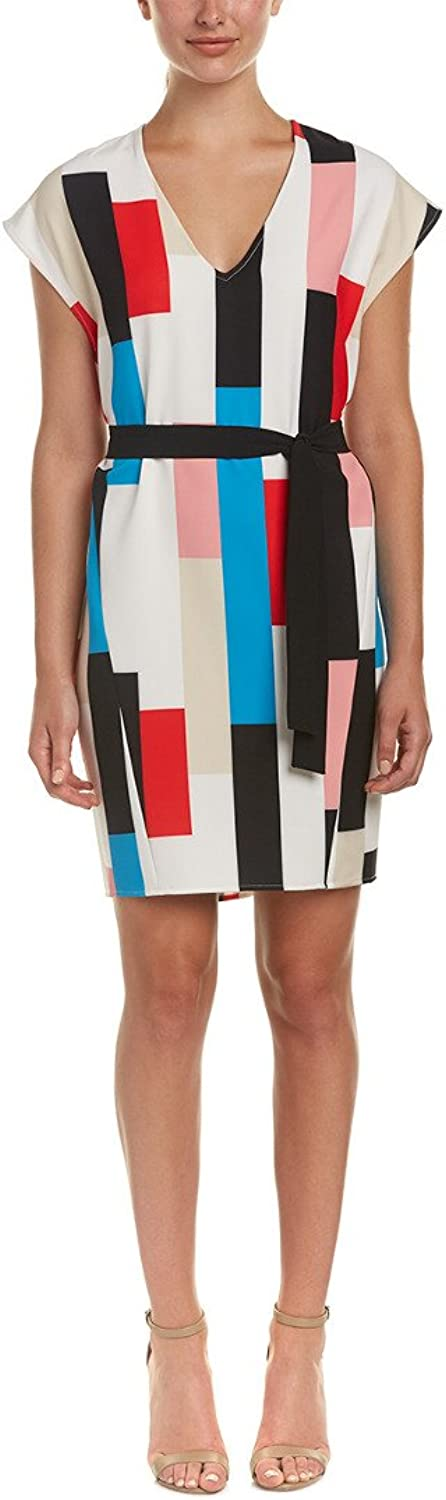 Catherine Malandrino Womens Manson color Block Cap Sleeves Wear to Work Dress