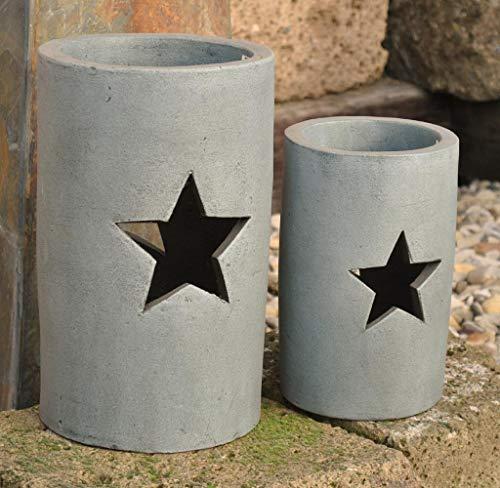 Kunert-Keramik Windlicht,Sterne,Aktuelles grau,Terracotta,frostfeste Handarbeit (22cm)