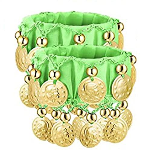 XKMY Cadena de mano para danza del vientre, 1 par de brazaletes de chifón, de oro, para disfraz de danza del vientre, accesorio (color de metal: verde claro)