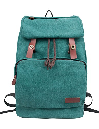 Douguyan Rucksacks for Women Canvas Travel Backpack Outdoor Backpacks Casual Rucksack for College School E00119 Green