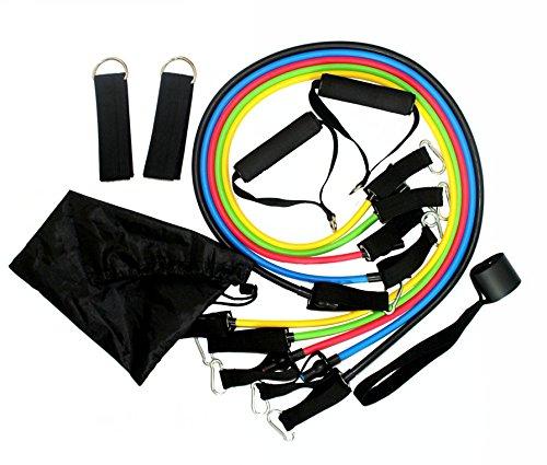 TriEcoWorld Übung Widerstand Bands Set, Fitness Widerstand Bands-Set mit 5Fitness Tubes/Griffe/Tür Anker/Ankle Straps/Tragetasche/Workout-, Best für Männer, Frauen