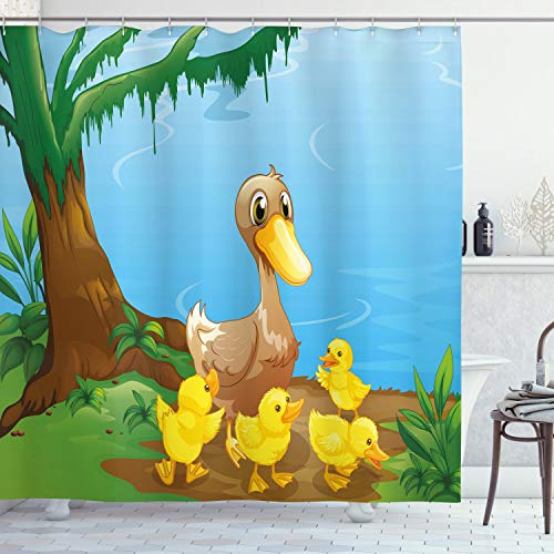 ABAKUHAUS Kids Duschvorhang, Niedliche Ente & Enten, aus Stoff inkl.12 Haken Digitaldruck Farbfest Langhaltig Bakterie Resistent, 175 x 200 cm, Multicolor