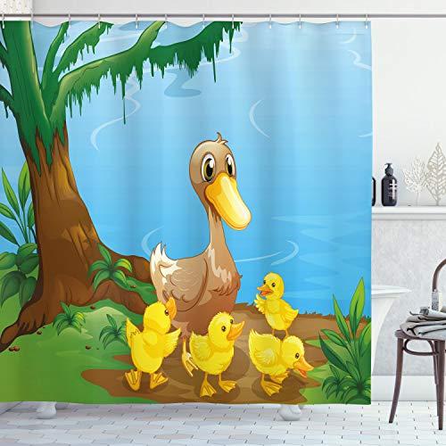ABAKUHAUS Eend Douchegordijn, Eend en Eendjes, stoffen badkamerdecoratieset met haakjes, 175 x 200 cm, Veelkleurig
