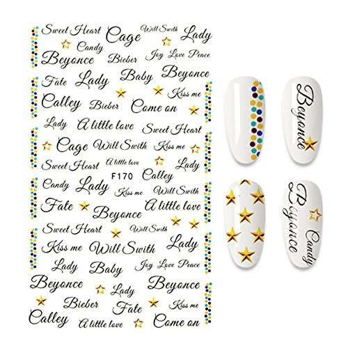 Etiqueta engomada del clavo Palabras en inglés Letras Diseño de frases Decoraciones artísticas para uñas Diseñador de manicura F555-A140053