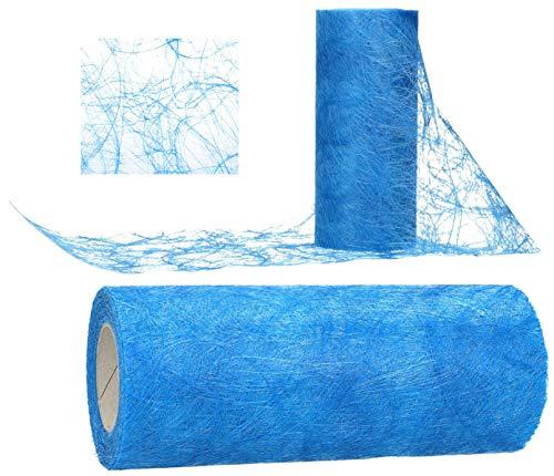AmaCasa Tischläufer Sizoweb 20cm/25m Tischband Hochzeit Kommunion (Blau)