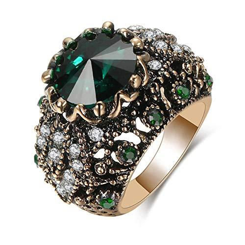 Anillo turco de lujo con circonita cúbica color rubí hecho a mano para hombres y mujeres europeas y americanas de personalidad, anillo de lujo vintage rosa con diamantes exagerados Jewelry-A_7