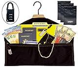 SafeSpot Hanger Diversion Safe Inside Pocket – Extra-Wide Zippered Opening to Hide Money Stash Jewelry Documents - Hidden Closet Safe for Home, Travel, Office, Dorm (Lockable Hanger Safe)