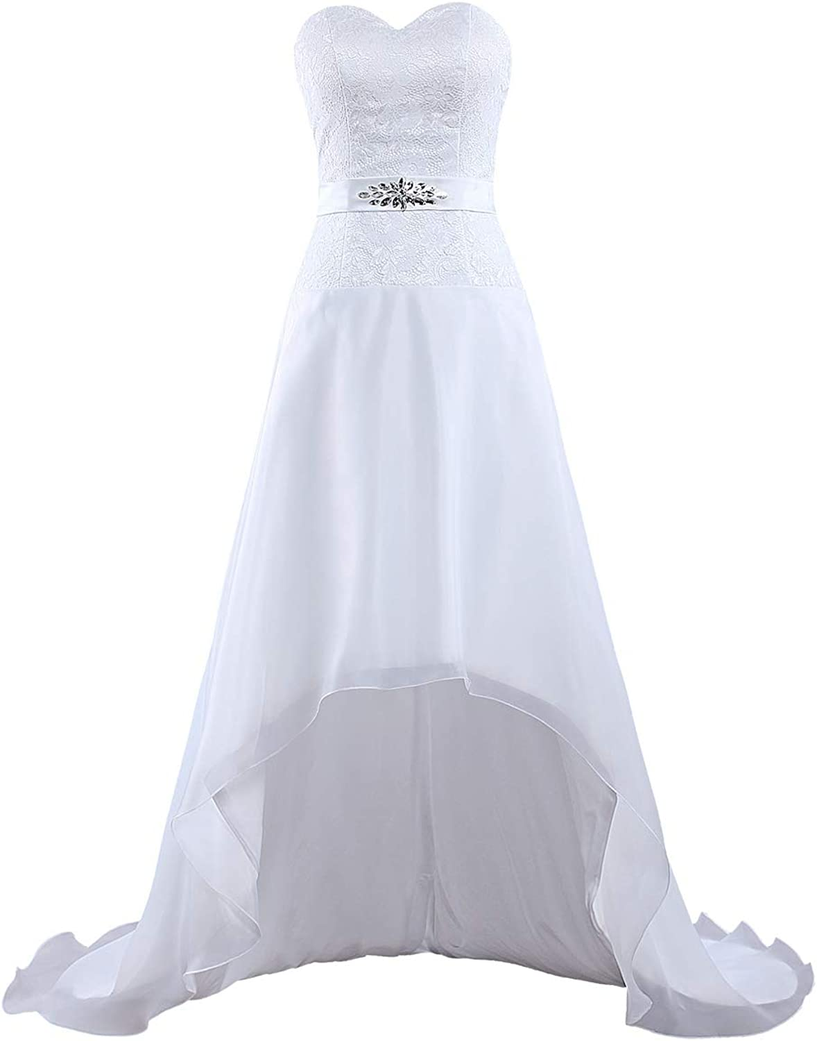 ANTS Women's Strapless Organza Lace Wedding Dresses High Low Gown