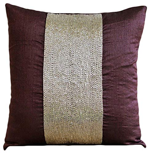 Púrpura fundas cojines, los granos metálicos Centrado brillante funda cojin, 50x50 cm fundas de cojin, sólido Contemporáneo fundas de almohadas, seda fundas para cojines de sofa - Purple Center