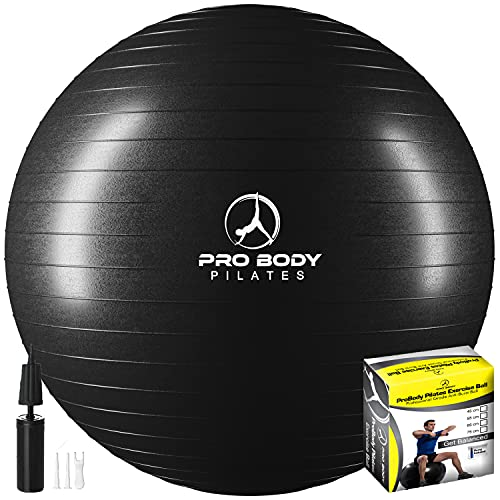 ProBody Pilates Exercise Ball - Professional Grade Anti-Burst Fitness, Balance Ball for Yoga, Birthing, Stability Gym Workout Training and Physical Therapy - Work Out Guide Included (Black, 45 cm)