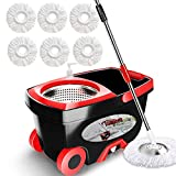 Tsmine Spin Mop & Bucket Floor Cleaning System, Household Cleaning Supplies Stainless Steel Mop Bucket with Wringer on Wheels - 6 Mop Heads 61' Handle, Mop with Bucket for Home Commercial Cleaning