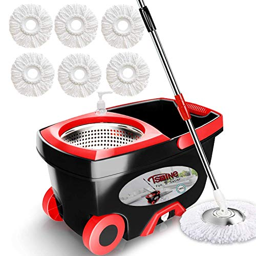 """Spin Mop Bucket Floor Cleaning - Tsmine Mop and Bucket with Wringer Set Commercial Spinning Mopping Bucket Cleaning Supplies with 6 Replacement Refills,61"""" Extended Handle for Household Hardwood Floor"""