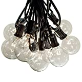 100 Foot Outdoor String Lights - 105 G50 Clear 2' Bulbs (5 Extra) - Black Wire - Globe String Lights for Patio, Backyard, Deck, Bistro, Cafe and Party Lighting