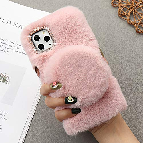for iPhone 11 Case Soft Plush Case with Detachable Makeup Mirror Warm Cute Cover for Girls Women Luxury Bling Crystal Rhinestone Winter Fuzzy Fluffy Furry Case for iPhone 11 Pink