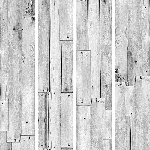 murando - PURO TAPETE - Realistische Tapete ohne Rapport und Versatz 10m Vlies Tapetenrolle Wandtapete modern design Fototapete - Holz grau Blätter f-A-0388-j-a
