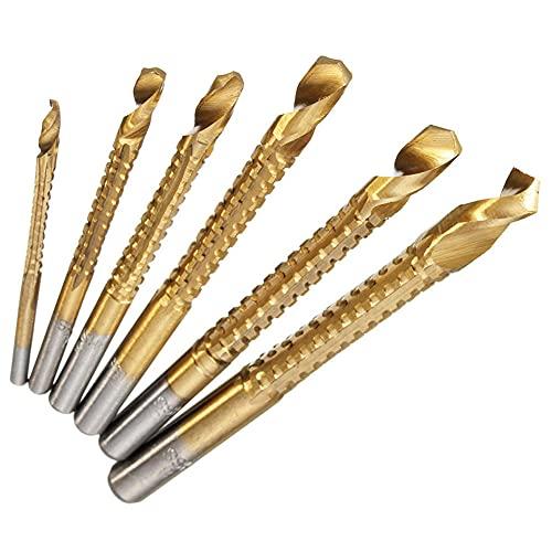 Drill Bit 6pcs Drill Bit Carbide Tip HSS High Bit Saw Set Metal Wood Drilling Hole Tools Drill Titanium Coated Woodworking