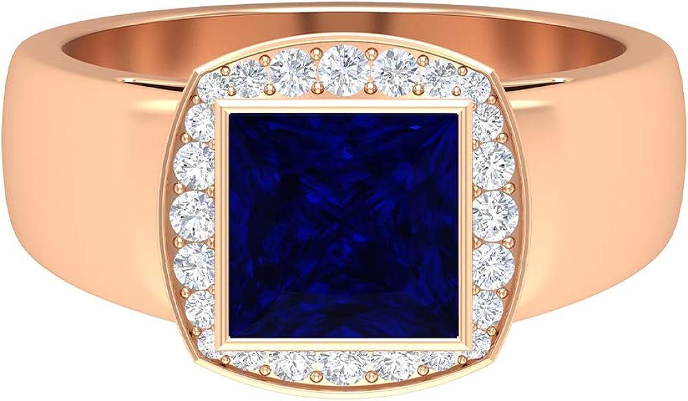 7 MM Princess Cut Lab San Diego Mall Created Blue Ring D HI-SI Quantity limited 4 1 Sapphire CT