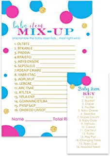 Gender Reveal Party Games Baby Shower Word Scramble Cards (Set of 25) Team Pink or Blue