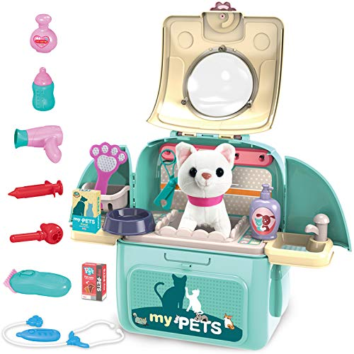 Gifts2U Pet Cat Carrier Backpack Toy, 23PCS Care Playset, Vet Clinic and Doctor Kit for Kids, Veterinarian Medical Role Play Set for Boys and Girls