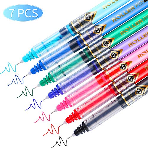 Rolling Ball Pens Colour Pens, Assorted Colors Quick-Drying Ink, Black, Pink, Dark Blue, Light Blue, Green, Purple, Red, Skip-Free Writing, 0.5 mm Extra Fine Point Pens Rollerball Pens (7 Pieces)