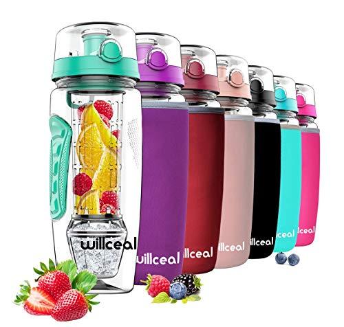 willceal Infusor de Frutas Botella de Agua de 32 oz,Durable con Bola de Gel de Hielo Desmontable, Grande - Tritan Libre de BPA, Tapa abatible, diseño a Prueba de Fugas - Deportes, Camping (Menta)