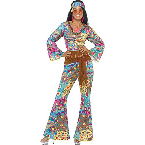 NET TOYS Hippie Kostüm Damen 70er Jahre Outfit M 40/42 Hippiekostüm Flower Power Damenkostüm Mottoparty Verkleidung Blumen Faschingskostüm
