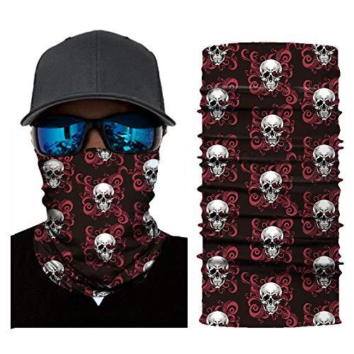 RKWEI Naadloze bandanas 3D Skull Multifunctionele Magic Scarf Elastic Seamless Bandana nekbescherming fietssjaal hoofdband zon- en uv-bescherming outdoor hoofddeksel