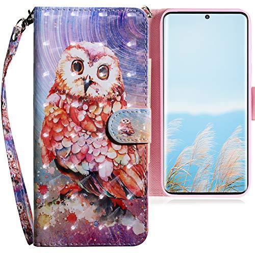 CLM-Tech Funda Compatible con Samsung Galaxy S20 Ultra, Carcasa Cuero sintético con Soporte y Ranuras para Tarjetas, Búho Multicolor Vistoso